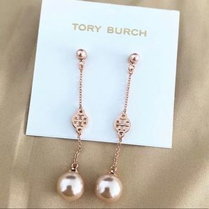 Tory Burch rose gold logo + double pearl earrings